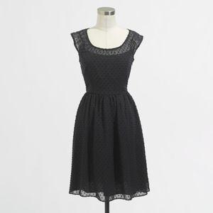J.Crew Black Chiffon Sleeveless Confetti Dot Dress